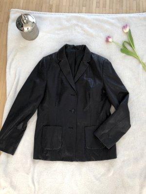 Montego Leren blazer zwart-zilver