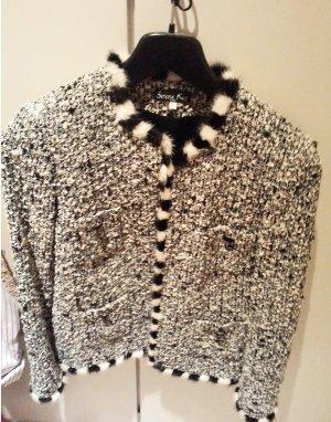 Blazer in top aktueller Tweed-Optik, schwarz-weiß, Gr. 38