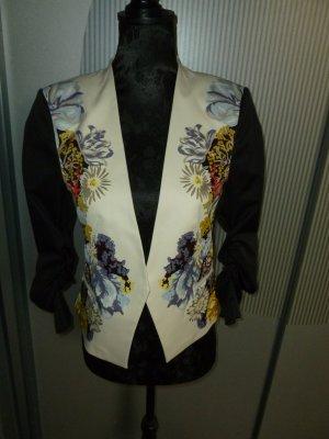 Blazer Jacke beige schwarz Blumen H&M