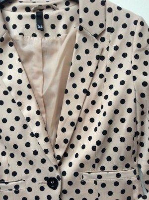 Blazer Jacke H&M Nude Schwarz Punkte Gr 34 XS Neu gepunktet