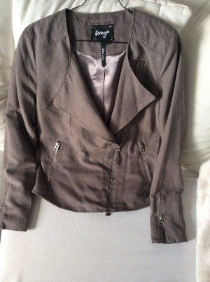 Blazer/Jacke in grau-taupe, Velours-Optik, Gr M, neuwertig