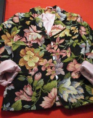 Blazer Jacke Innenfutter Gobelin schwarz bunt rosa altrosa grün blau cremen Flower Blumen Blüten wie NEU super Qualität 34 36 38 XS S M