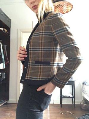 Blazer Jacke kariert Karo Muster Bräune beige Knopfleiste Schulmädchen  schottenmuster gossip girl brit chic