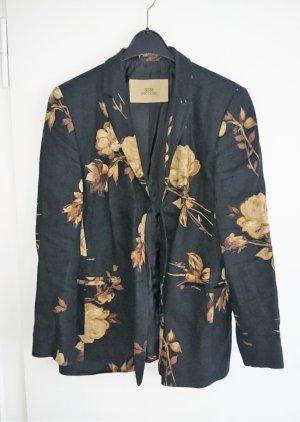 Blazer Jacke Leinen schwarz braun beige von BERRI Gr. 42