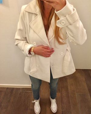 Blazer Jacke Mantel Herbstmantel Weiß/Creme mit Gürtel und Kragen