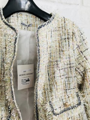 Tweed blazer licht beige Katoen