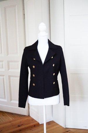 Blazer Jacke schwarz gold Mantel elegant schick Business Herbst H&M 34 XS NEU