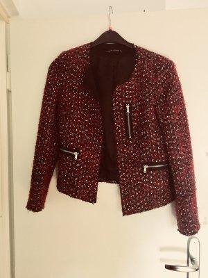 Zara Blazer corto negro-rojo oscuro