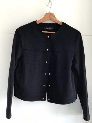 Amisu Leren blazer zwart Polyester