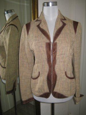 Blazer Jacket Old Englisch Beige Braun Leder #scotty Gr 42