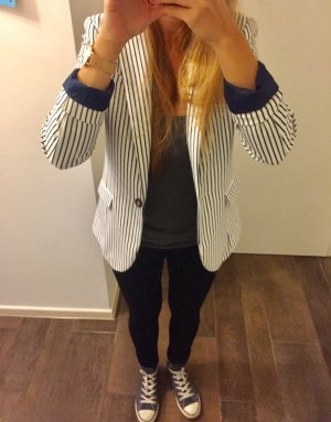 Blazer Jackett H&M gestreift blau weiß langärmlig tailliert