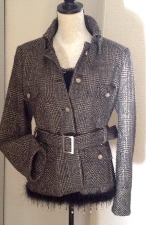 Blazer en laine brun foncé-noir acrylique