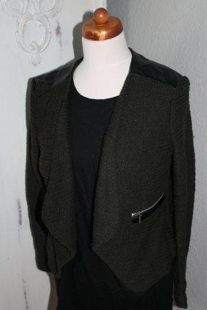 Blazer Khaki Grün mit Kunstleder Tweed Look