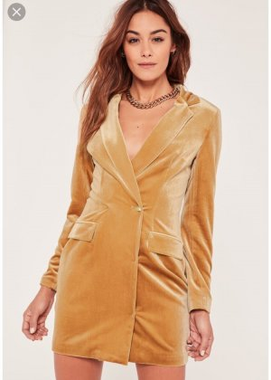 Blazer-Kleid aus samt in Goldbraun