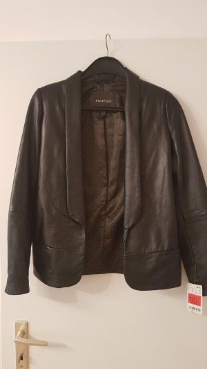 Mango Leather Blazer black leather