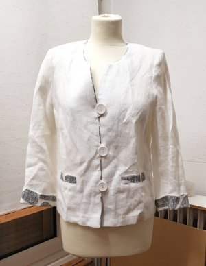 Blazer lungo bianco-grigio chiaro Lino