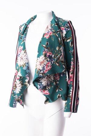 Blazer mit floralem Muster und Kontraststreifen Grün M/L