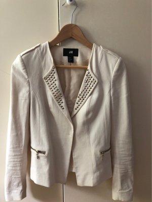 H&M Blazer de esmoquin crema-color oro Algodón