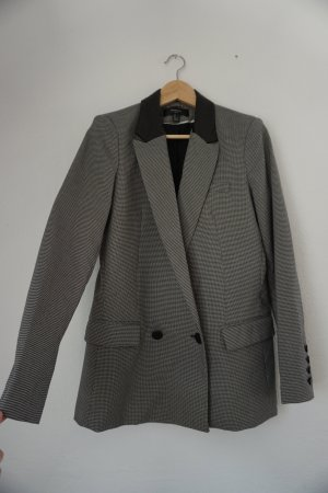 Mango Suit Blazer long noir-blanc tissu mixte