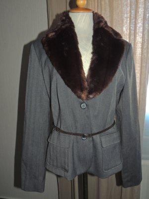 Comma Tweed blazer grijs Polyester