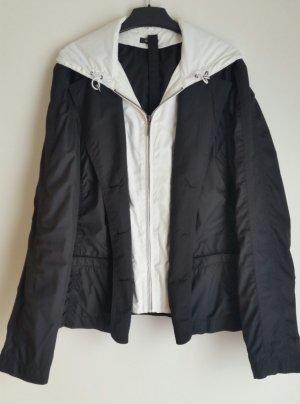 G.W. Veste à capuche blanc-noir tissu mixte