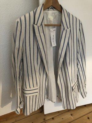 H&M Blazer boyfriend blanc cassé-bleuet