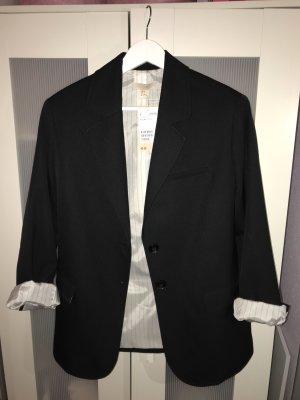 H&M Premium Blazer boyfriend noir-blanc coton