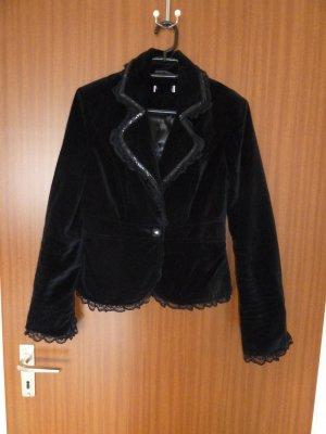 Blazer Samt schwarz 36 S Velvet Spitze Pailletten Orsay