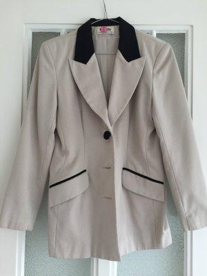 Blazer, schwarz beige, Vintage, Schulterpolster, lang