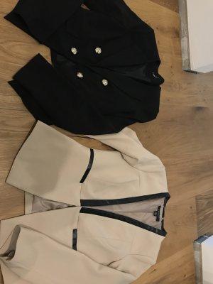 Blazer Set // beige und schwarz// neuwertig // Gr M // Anzug Jacke // Weste