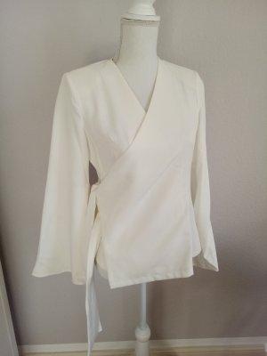 Blazer Shirt Weiß Trompetenärmel Blogger Business M L 38 40