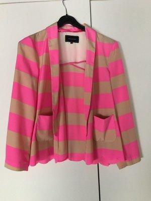 Blazer Smoking gesteift Streifen pink Nude Jacke asos bluse muschelsaum S
