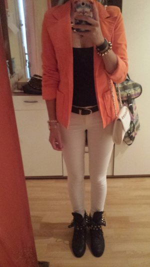 Blazer Smoking Jacke Vintage Samt Velvet Orange Neon Blogger Trend