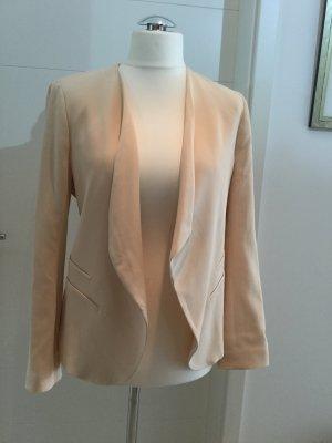 Zara Blazer corto crema-rosa tejido mezclado