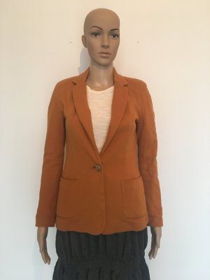 Blazer Sweatblazer Jersey Jacke Rost orange Kurkuma Struktur Einknopfblazer Bronze Zierknopf small Rich&Royal Rich & Royal