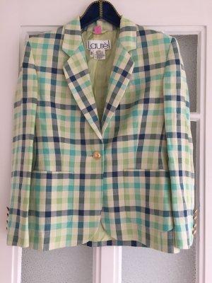 Blazer Vintage, Vichy-Karo, Sommer, hell grün, laurèl, Seide, Leinen, Wolle