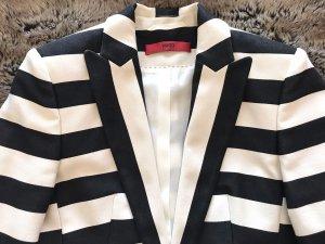 HUGO Hugo Boss Long Blazer black-natural white cotton