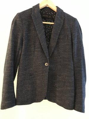 Zara Blazer in lana blu scuro-argento