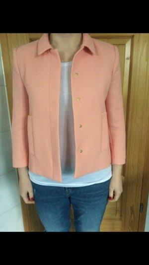 Blazer von Zara in Lachs rosa, Größe M Hochzeit elegant minimalistisch