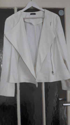 Blazer XL 48 C&A weiß Longblazer Jacke silber Wasserfall