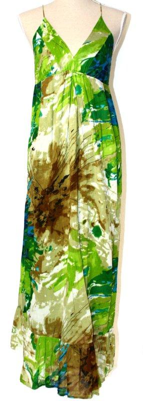 Bleifrei Kleid 38 M Sommer Maxikleid grün khaki braun blau - hippie boho festival