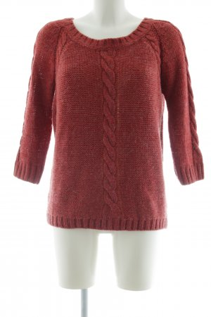 Bleifrei Strickpullover rot Zopfmuster Casual-Look