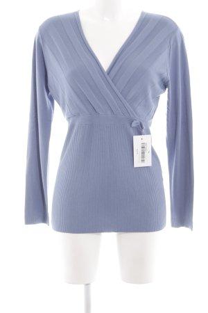 Bleifrei V-Ausschnitt-Pullover blau Streifenmuster Elegant