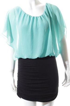 Falda estilo lápiz turquesa-negro elegante
