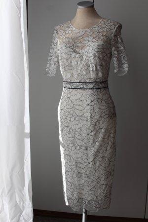 Bleistiftkleid weiß schwarz Gr. 34 XS kurzarm Kleid knielang retro neu Spitze