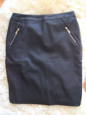 Flame Pencil Skirt black-silver-colored cotton