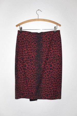 Bleistiftrock mit rotem Leopardenmuster