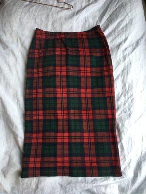 Bleistiftrock Rock Karo Muster rot grün high waist Strech eng Schulmädchen uniform topshop brit chic kariert Muster Karo schottenmuster