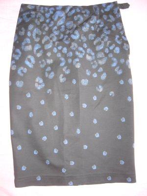 Bleistiftrock schwarz mit blauem Pfauenmuster 95 % Baumwolle H&M XS 34