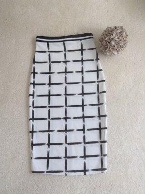 Bleistiftrock / schwarz-weiß / Gr. Uni (34/36)